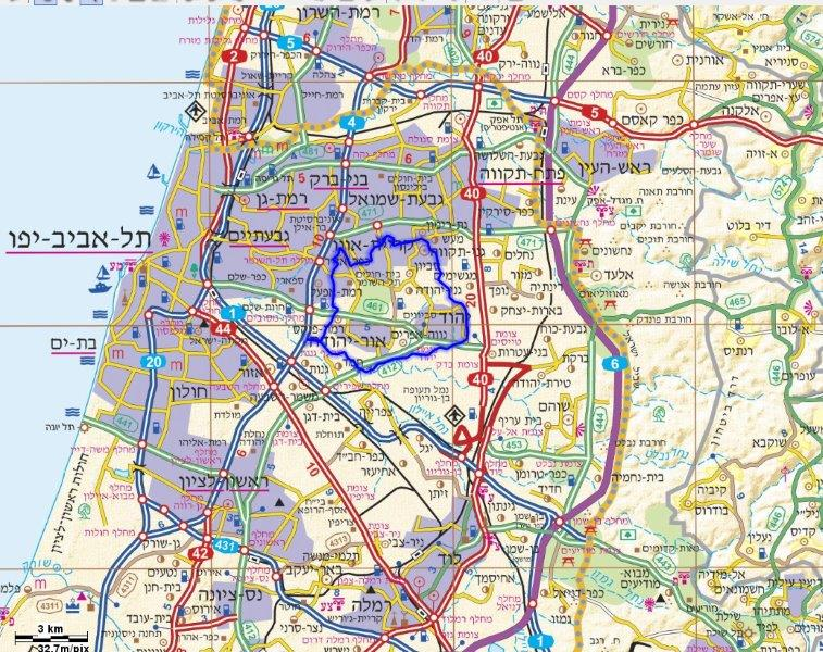 טוב מאוד בקעת אונו, במרחב עירוני ובשטחים הפתוחים - עמירם במשעולי ישראל QI-89