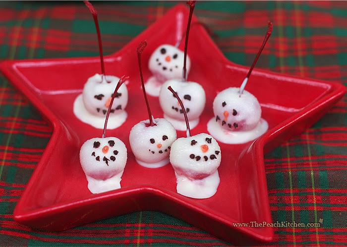 Cherry Snowman | www.thepeachkitchen.com