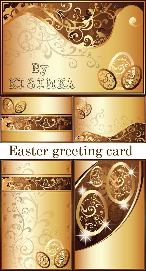 Stock: Easter greeting card with golden eggs