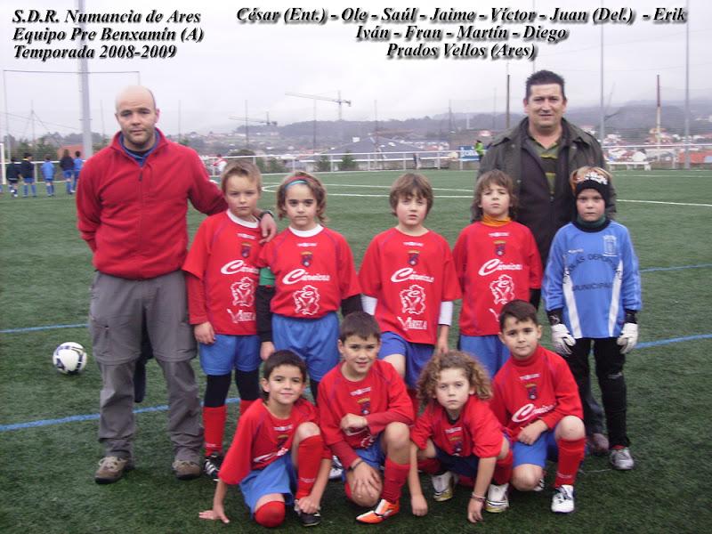 """Numancia de Ares. Equipo Prebenxamín """"A"""" temporada 2008-2009"""