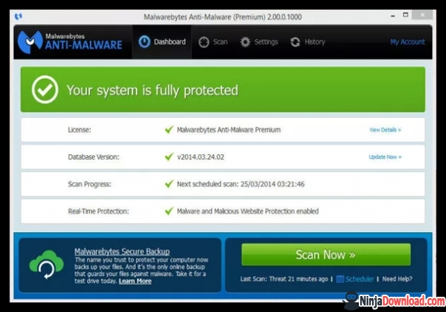 Malwarebytes interface