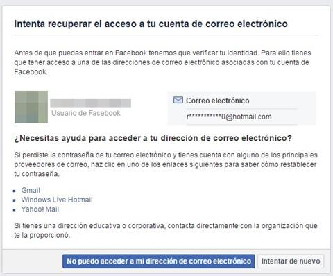 Opciones para recuperar acceso al correo en Facebook