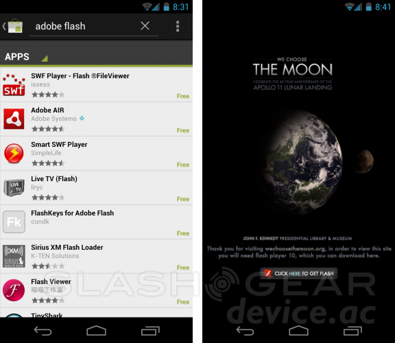 Android 4.0 Ice Cream Sandwich Doesn't Have Flash Player!