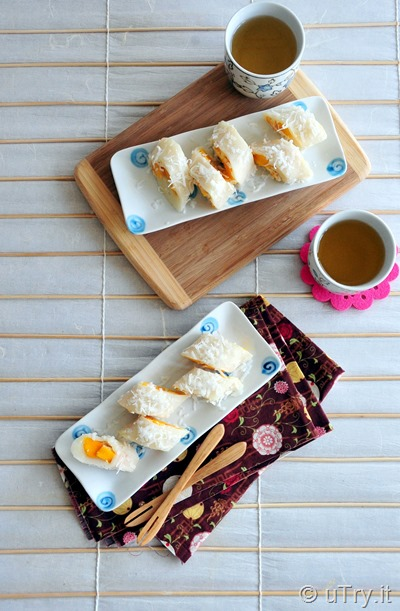 Check out how to make these Coconut Mango Mochi Rolls (椰汁香芒果糯米卷) with a step-by-step video tutorial.  http://uTry.it