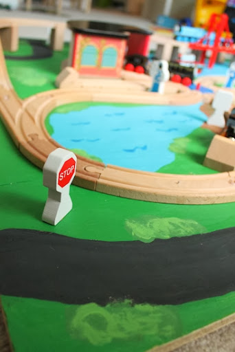 Beautiful  that the kids would like to drive cars on the board along with the trains but so far they uve been just obsessed with the trains and the tracks