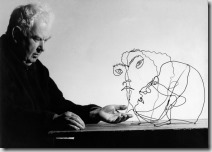 calder with wire frame sculptures