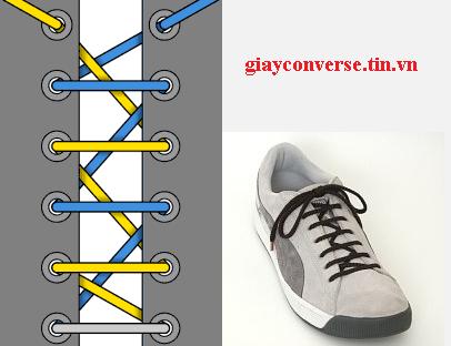 Cách buộc dây giày Converse kiểu buộc thẳng