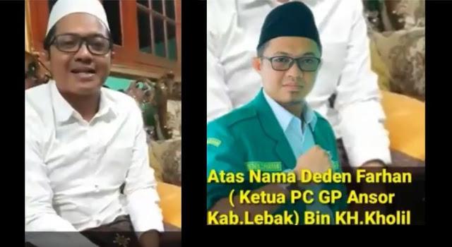 """Deden Farhan Ketua PC GP Ansor Lebak Akhirnya Minta Maaf Telah Menurunkan """"Bendera Tauhid"""" Saat Hari Santri"""