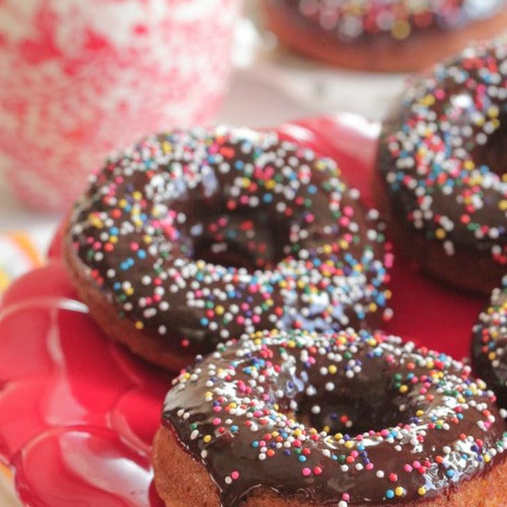 Roasted Banana Chocolate Sprinkle Baked Doughnuts