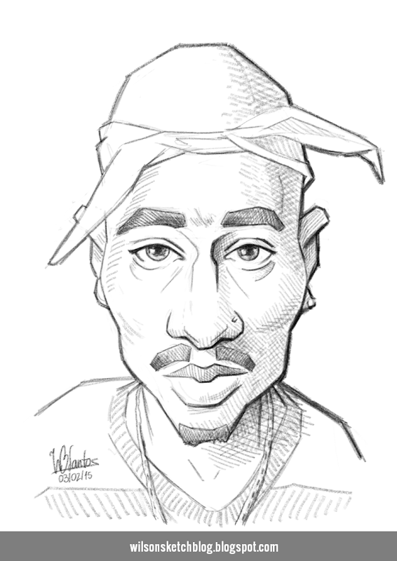 Caricature sketch of 2Pac.