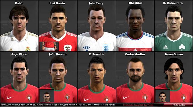 Kaka, Terry, Javi Garcia, C. Ronaldo, Nuno Gomes Faces - PES 2012