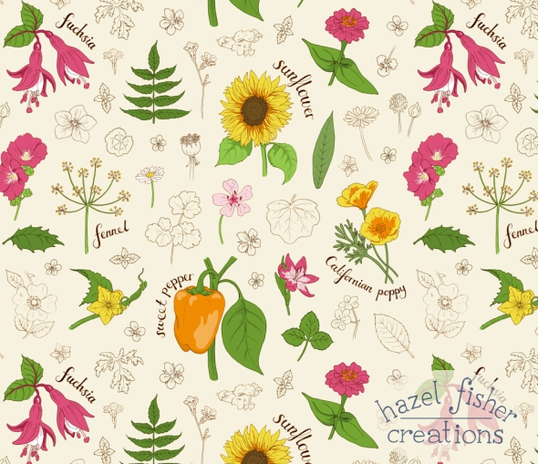 August review Botanical sketchbook final fabric design hazelfishercreations