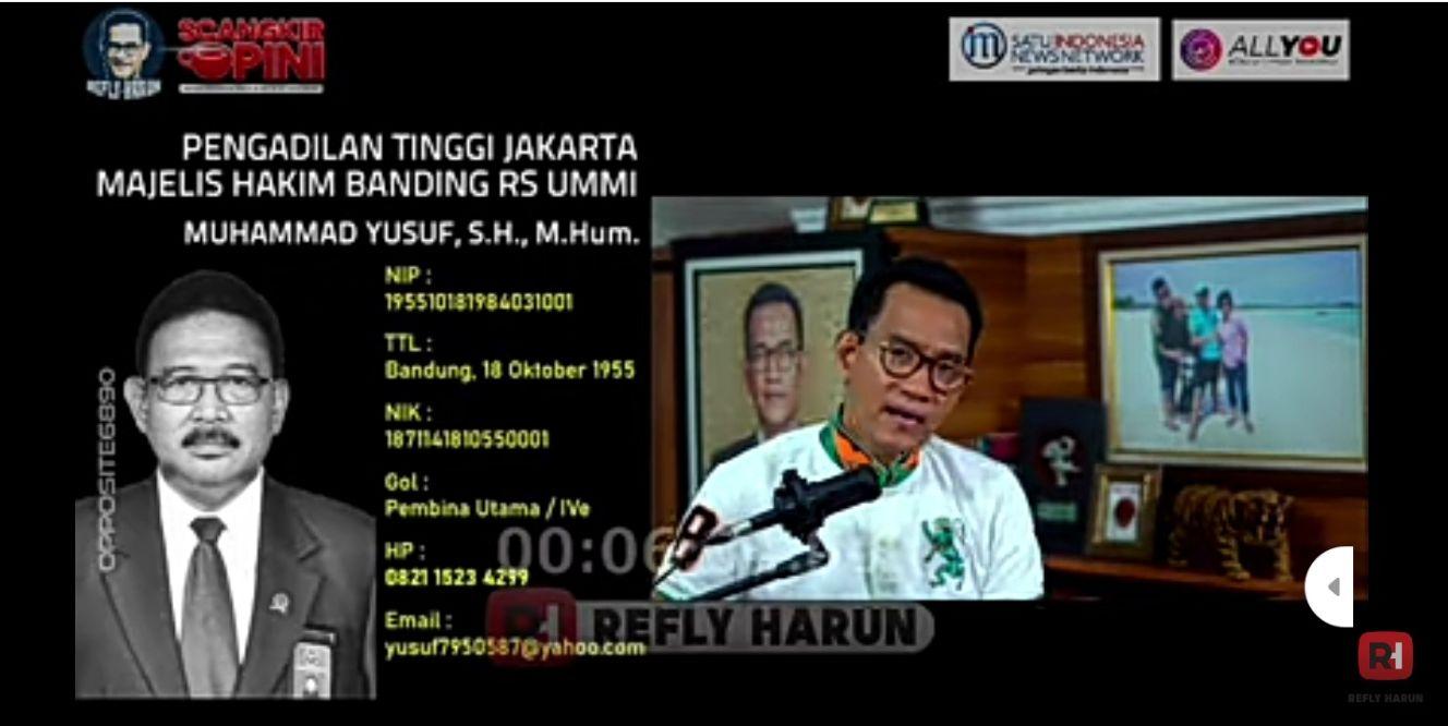 Soroti Nama & Usia Hakim Penolak Banding HRS, Refly Harun: Sebentar Lagi Pensiun, Apa yang Mau Dicari?