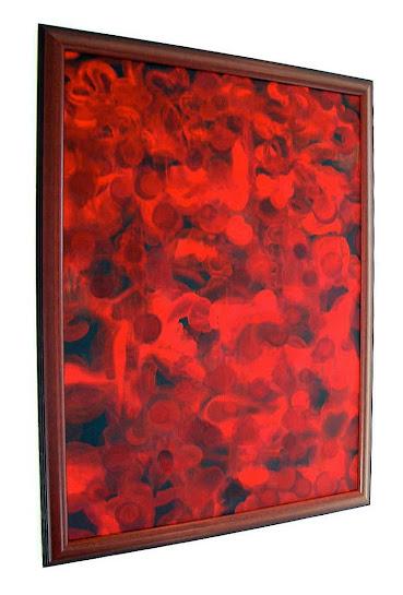 Victor Angelo Kingdom Original Red Framed Oil Painting 1999