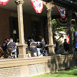Sunday morning service by the 5th MI Regimental Band on the veranda of Rutherford B Hayes' home at Speigal Grove