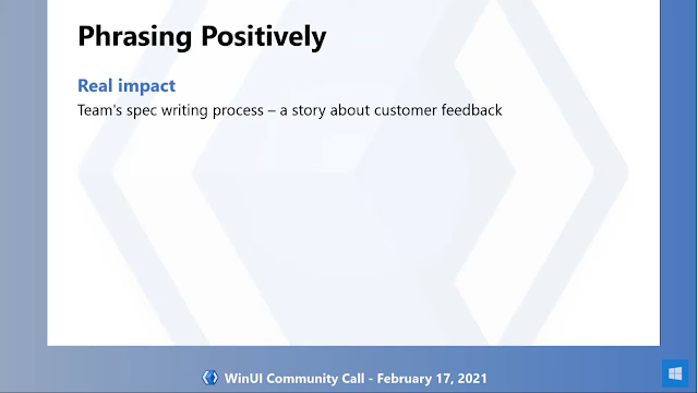 Phrasing Positively | Real impact: Team's spec writing process - a story about customer feedback