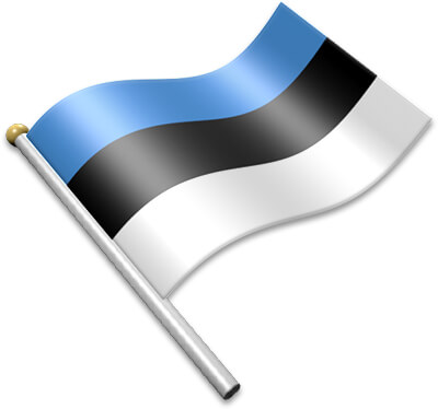 The Estonian flag on a flagpole clipart image
