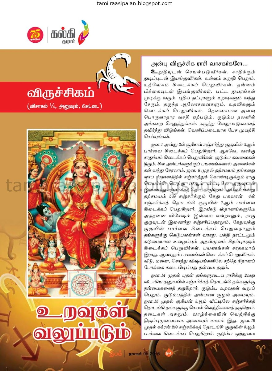 Deepam 2016-2017 New Year and Rahu Kethu Transit Vrichikam