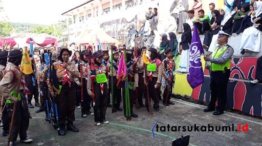 Satlantas Polres Sukabumi Gelar Lomba Ketangkasan Baris Berbaris Tingkat SMP se-Kabupaten Sukabumi