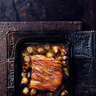 Slow Roast Fennel Pork With Confit Shallots.