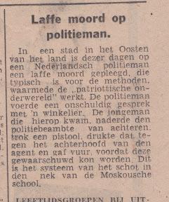 Artikel uit Twentsch Nieuwsblad, Moord op Politieman 6 juli 1944. http://www.secondworldwar.nl/enschede/