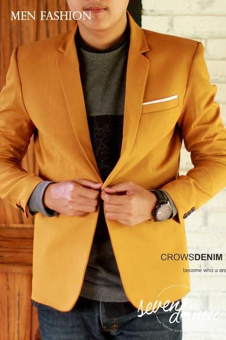 seven domu blazer single button mustard bk04