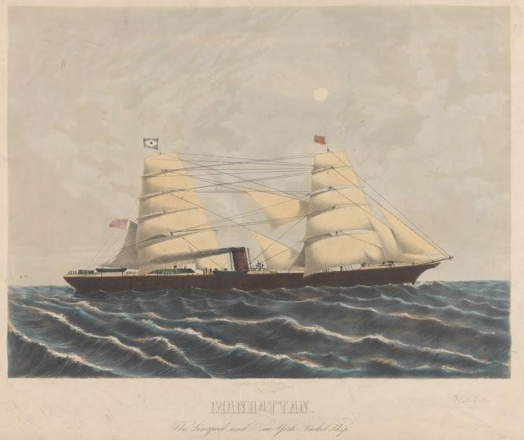 Litografia coloreada del MANHATTAN. Autor, Seith. National Maritime Museum Greenwich.jpg