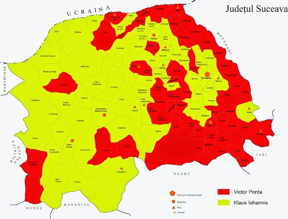 Rezultatul turului al doilea al alegerilor prezidenţiale 2014 în judeţul Suceava, pe localităţi