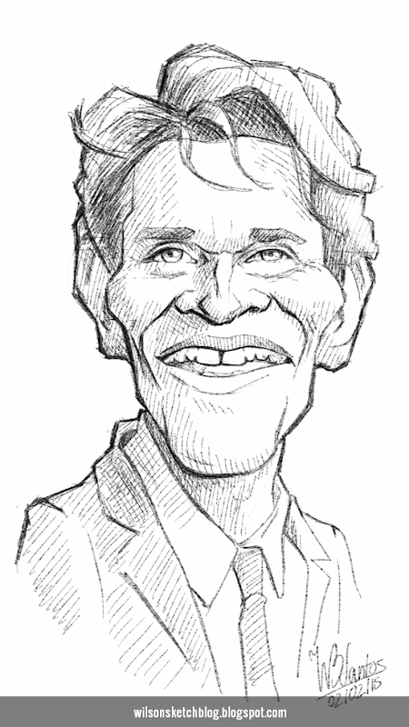 Caricature sketch of Willem Dafoe.