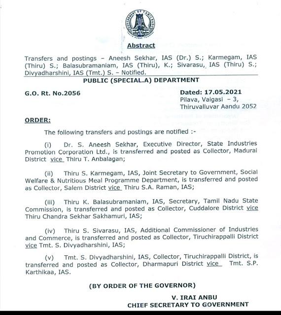 அரசாணை எண்- 2056 - 5 மாவட்ட ஆட்சியர்கள் பணியிட மாற்றம் செய்து தமிழக அரசு உத்தரவு
