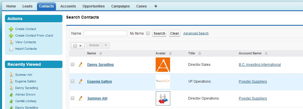 Photo Fields addon for SugarCRM CE