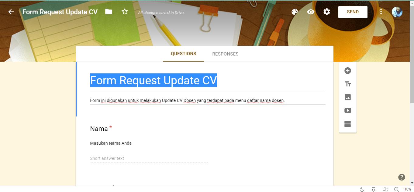 RME #9 :: Membuat dan Embed Form Request Update CV Dosen