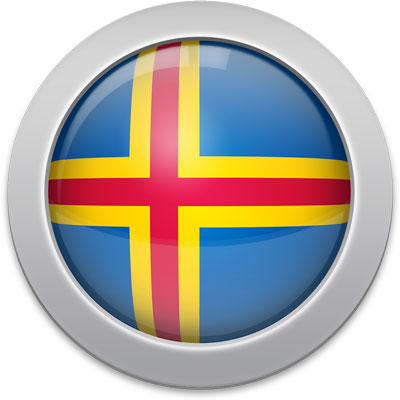 Aland-Island  flag icon with a silver frame
