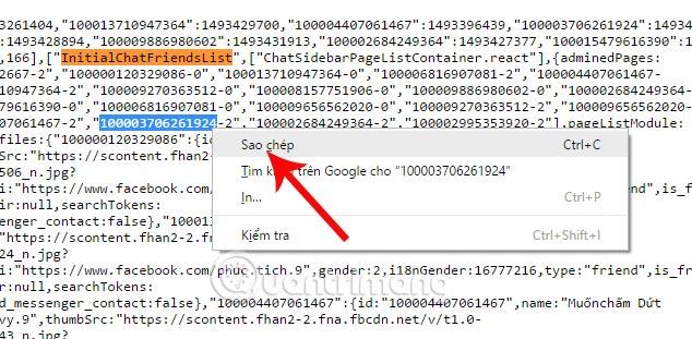 Chúng ta mở tab khác trên tình duyệt rồi nhập vào thanh địa chỉ 'facebook.com/'  rồi dán mã Facebook ID mà bạn vừa sao chép ở trang mã nguồn vào ...