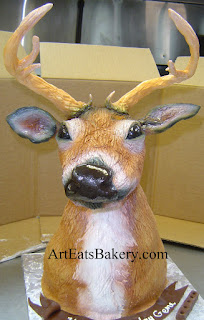 3D custom sculpted airbrushed fondant deer head men's Birthday cake