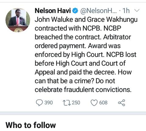 LSK president Nelson Havi rejecting the John Waluke ruling tweet