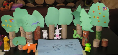 Add Toy animals to a Toilet Paper Roll trees and create a Forest