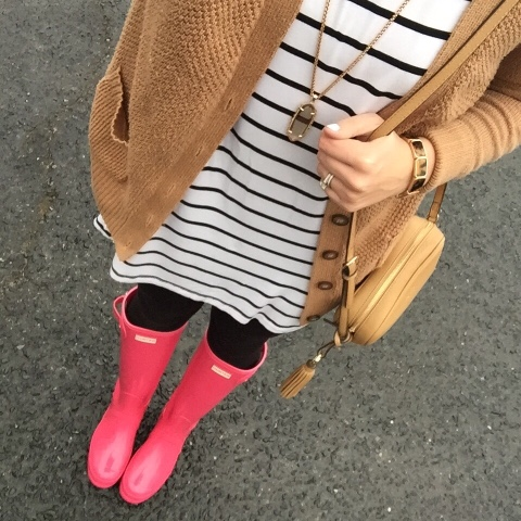 pink hunter boots, tan cardigan