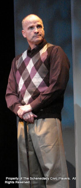"""Marty O'Connor in """"Foreplay: or the Art of the Fugue"""" as part of THE IVES HAVE IT - January/February 2012.  Property of The Schenectady Civic Players Theater Archive."""