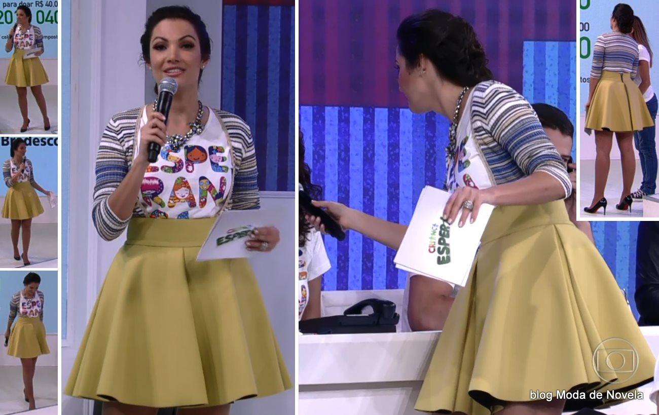moda do programa Criança Esperança - look da Patrícia Poeta dia 16 de agosto