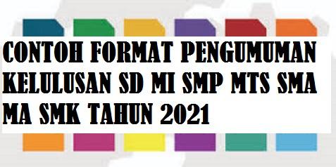 Contoh Format Pengumuman Kelulusan SD MI SMP MTS SMA MA SMK Tahun 2021 Format Doc Atau Word
