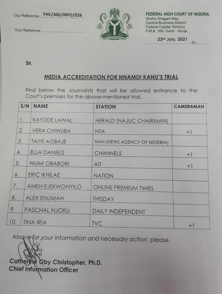 List Of Media Officials and Media Houses Accredited To Cover Nnamdi Kanu's Trial