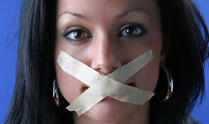 Man Duct Tapes Girlfriend Mouth Shut Image
