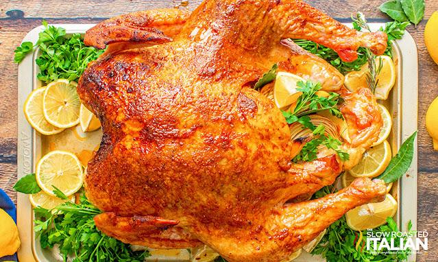 smoked turkey on a tray