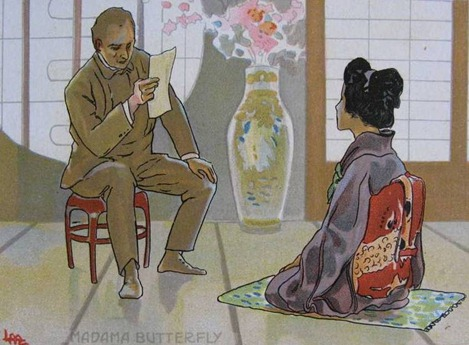 IN PERFORMANCE: Giacomo Puccini's MADAMA BUTTERFLY at North Carolina Opera, October/November 2015 [Illustration of Sharpless reading Pinkerton's letter by Leopoldo Metlicovitz (1868 - 1944), ©  by Casa Ricordi]