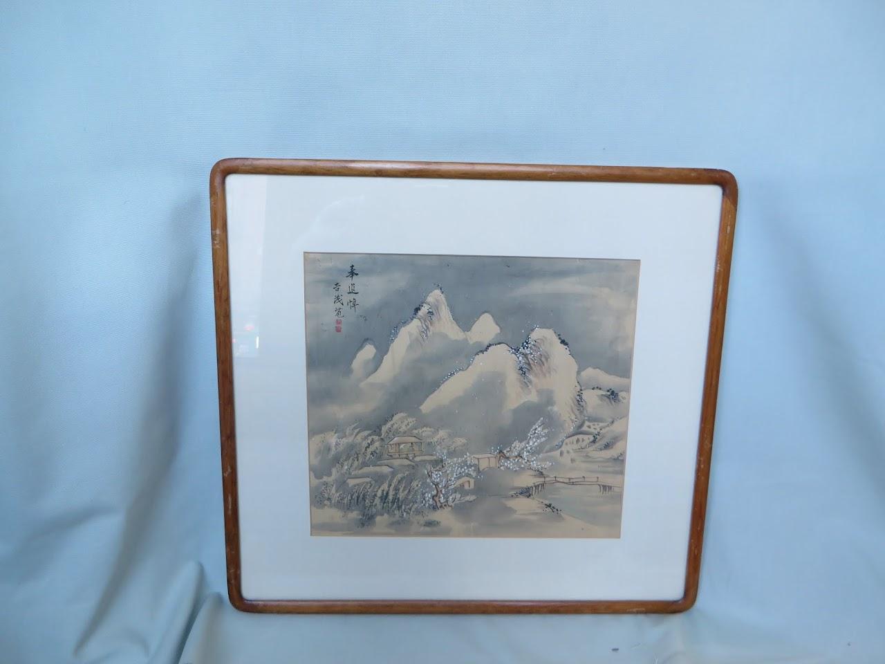 Antique Japanese Watercolor Landscape