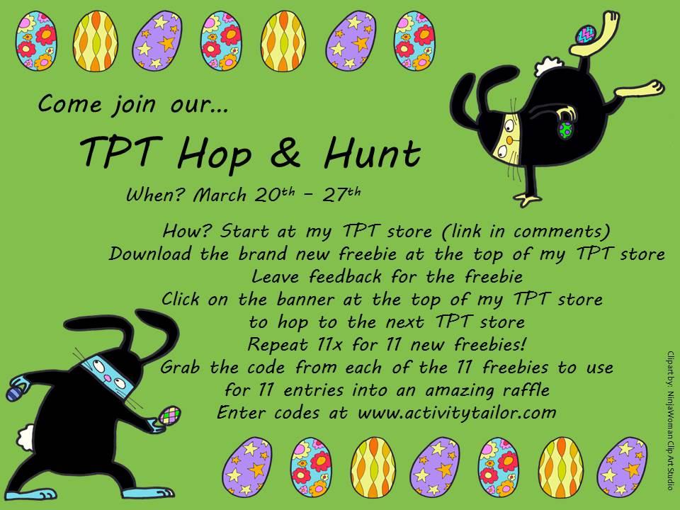 Spring SLP TpT Hop Hunt Promo Graphic