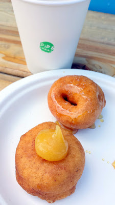 Portland Monthly Country Brunch 2016 - brunch bite by Pip's Doughnuts of their Raw Honey and Sea Salt doughnut and a Meyer Lemon and Pear Butter doughnut, with a sample of either their Smoky Robinson Chai or Heart of Gold Chai