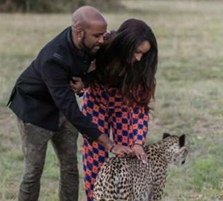 BankyW and Adesua play with cheetahs