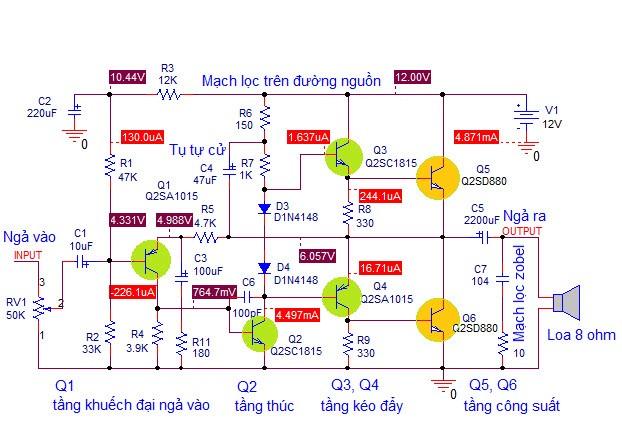 ampli dung transistor Ứng dụng: Mạch khuếch đại công suất âm thanh dùng transistor